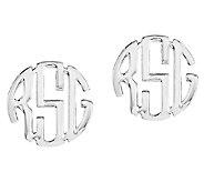 Sterling Polished 1/4 Circle Block Monogram Stud Earrings - J316828