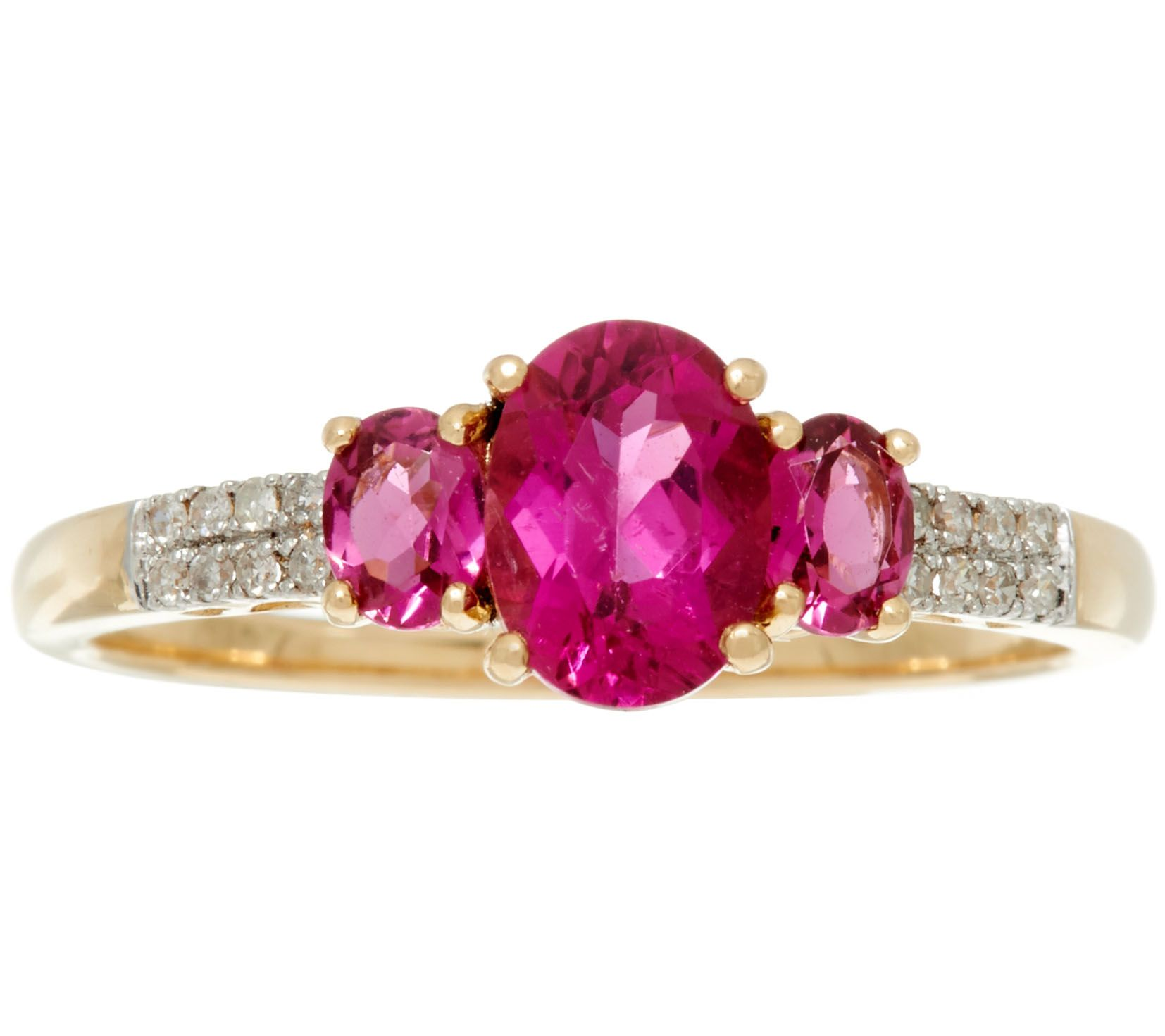 Rubellite & Diamond 3-Stone Design Ring, 14K Gold, 1.10 ct tw - Page ...