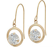 Diamonique 1.20 cttw Floating Stone Dangle Earrings 14K Gold - J347128