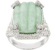 Judith Ripka Sterling Carved Jade Monaco Ring - J348228