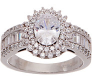 Diamonique Oval Halo Ring with Baguette Band, Platinum Clad - J351228