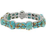 7-1/4 Kingman Turquoise Tennis Bracelet Sterling Silver - J355828