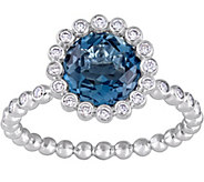 14K 2.25 ct London Blue Topaz & 1/5 cttw Diamond Ring - J377828