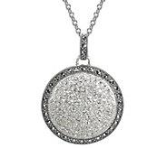 Suspicion Sterling Marcasite & Crystal Circle Pendant w/ Chai - J383628