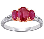 14K 1.50 cttw Ruby & 1/7 cttw Diamond 3-Stone Ring - J392228