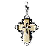 American West Golden Mother-of-Pearl Sterling Cross Enhancer - J293529