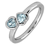Simply Stacks Sterling & Aquamarine Double-Heart Ring - J299329