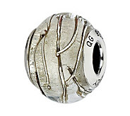 Prerogatives Sterling Clear Striped Italian Murano Glass Bead - J300129