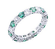 Diamonique & Simulated Emerald Band Ring, Platinum Clad - J302429