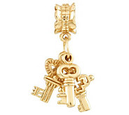 Prerogatives Gold-Plated Sterling Three Keys Dangle Bead - J302629