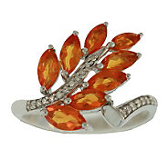 1.00 ct tw Fire Opal & Diamond Accent Leaf Ring, Sterling - J305729