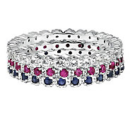 Simply Stacks Sterling White Topaz, Ruby, & Sapphire Ring Set - J306029