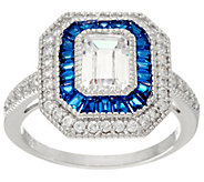Diamonique and Simulated Sapphire Deco Ring, Sterling - J335229