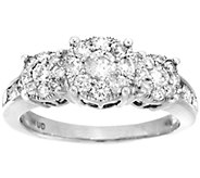 3-Stone Cluster Design Diamond Ring, 14K, 1cttw by Affinity - J339029