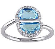 2.35 cttw Blue Topaz & Diamond Accent Ring, 1 4K White Gold - J342529