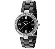 Peugeot Womens Silvertone Black Ceramic Watch - J344629