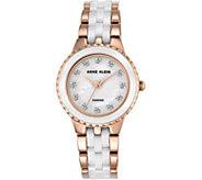 Anne Klein Womens Rosetone White Ceramic Watch - J344729