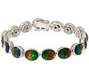 Oval Ammolite Triplet Sterling Silver Tennis Bracelet - J346229