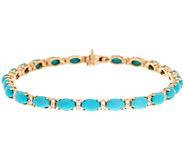 Sleeping Beauty Turquoise & Diamond 6-3/4 Tennis Bracelet 14K Gold - J347729