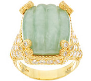 Judith Ripka Sterling & 14K Clad Carved Jade Monaco Ring - J348229