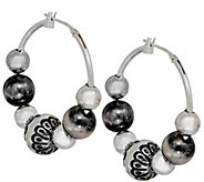 American West Sterling Silver Multi-Bead 1-1/4 Hoop Earrings - J349929