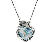 Or Paz Sterling Silver Roman Glass Pendant with Chain - J350229