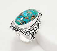Artisan Crafted Sterling Silver Elongated Mohave Turquoise Ring - J355429