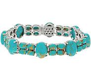 8 Kingman Turquoise Tennis Bracelet, Sterling Silver - J355829