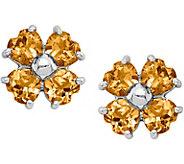 Sterling Silver Pear Shaped Gemstones Flower Earrings - J374829