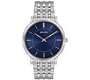 Bulova Mens Stainless Steel Blue Ultra-Slim Bracelet Watch - J384429