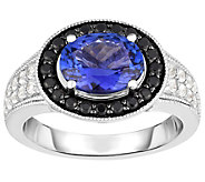 Sterling Oval Tanzanite w/ Black Spinel Halo Ring - J384529