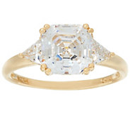 Diamonique 3.45 cttw Asscher-Cut Solitaire Ring, 14K Gold - J384629