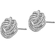 Italian Gold Textured Love Knot Stud Earrings,14K - J385529