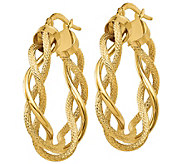 Italian Gold Polished & Textured Twisted Hoop Earrings, 14K - J385629