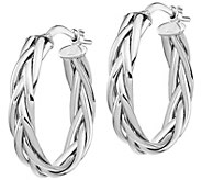 Italian Gold 3/4 Braided Oval Hoop Earrings, 14K Gold - J385729