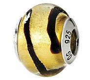 Prerogatives Sterling Gold/Black Italian MuranoGlass Bead - J111730
