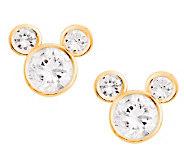 Disney Diamonique Mickey Mouse Stud Earrings, 14K Gold - J112530