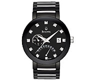 Bulova Mens Diamond-Accented Black Dial Bracelet Watch - J112930