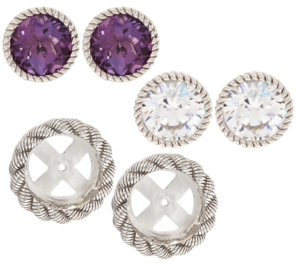 Judith Ripka Sterling 2 Sets Of Stud Earrings With Jacket Set Page 1 Qvc