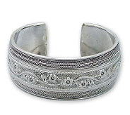 Novica Artisan Crafted Sterling Floral Imagination Cuff - J298530