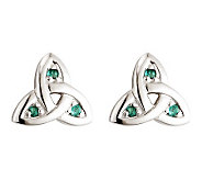 Solvar Emerald Trinity Knot Earrings, 14K WhiteGold - J311330