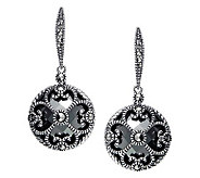 Suspicion Sterling Marcasite & Hematite Round Dangle Earrings - J311530