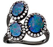 As IsGraziela Gems Australian Opal Triplet & Zircon Sterling 3-Stone Ring - J331930