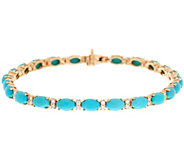 Sleeping Beauty Turquoise & Diamond 7-1/4 Tennis Bracelet 14K Gold - J347730
