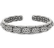 JAI Sterling Silver Basketweave Engraved Cuff, 35.3g - J358830