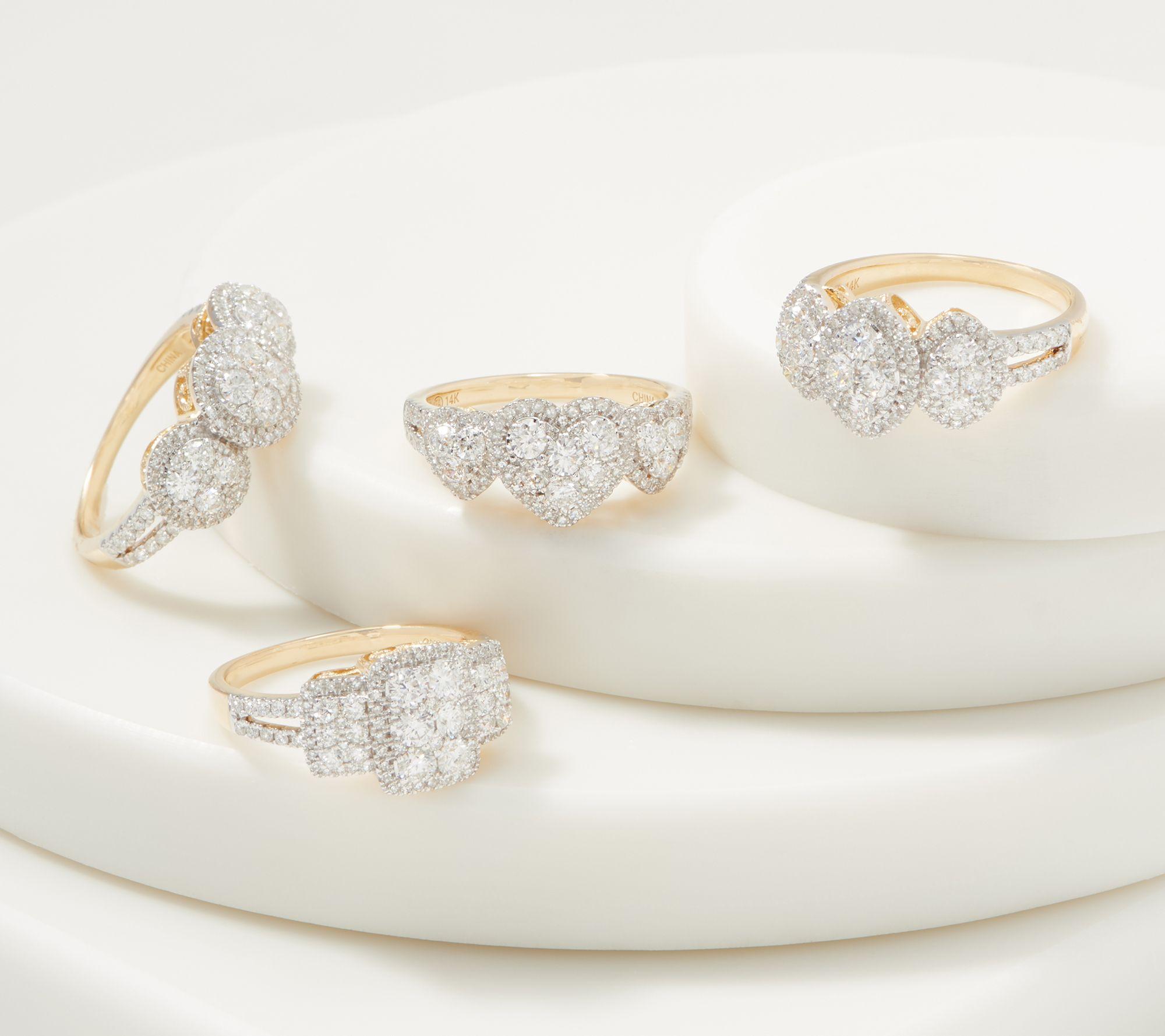 9f4117a38ff7e Affinity 14K Gold Triple Cluster Diamond Ring, 1.00cttw — QVC.com