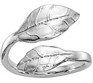 Italian Silver Leaf Bypass Ring, Sterling - J380130