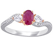 14K 0.90 cttw Ruby & White Sapphire 3-Stone Ring - J392230