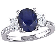14K 2.65 cttw Sapphire and 6/10 cttw Diamond 3-Stone Ring - J392330
