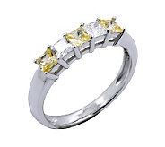 Diamonique & Canary Princess Cut Ring, Platinum Clad - J302431